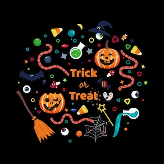 Set of decorative elements for halloween celebrations and text saying trick or treat
