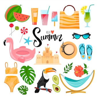 Set of decorative elements on the summer theme. suitable for creating stickers, postcards, brochures and more.