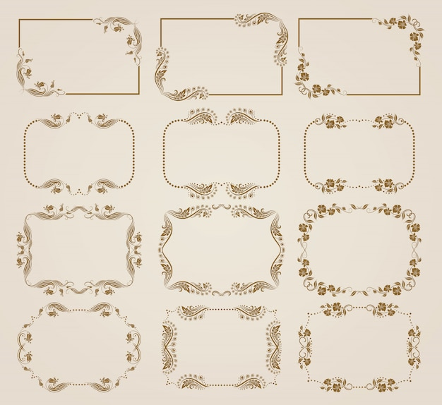 Set of decorative floral frames.
