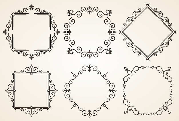 Set of decorative frames with all separated elements