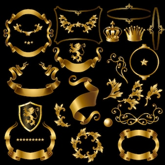 Set of decorative golden elements