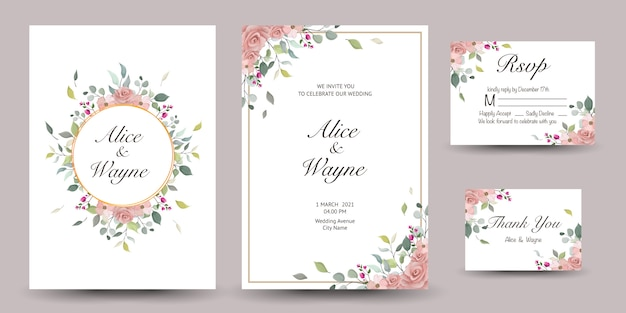 Set of decorative greeting card or invitation with floral