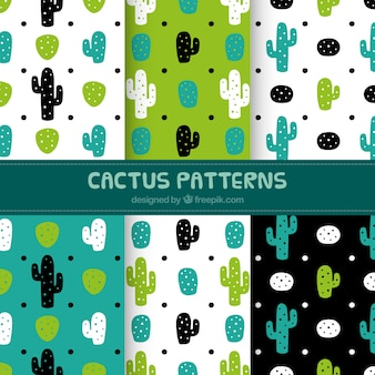 Set of decorative hand drawn cactus patterns