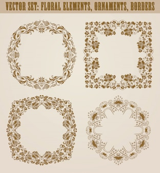 Set of decorative hand drawn elements, border, frame with floral elements for design. page decoration in vintage style