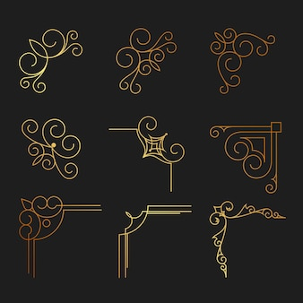 Set of decorative hand drawn elements, border, frame with floral elements for design in vintage style