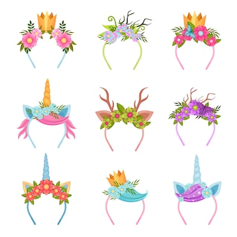 Set of decorative headbands with a floral theme