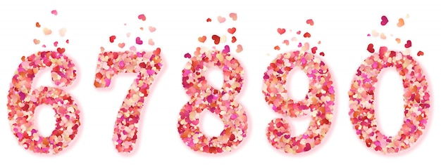 Set of decorative hearts confetti numbers. isolated on white background.