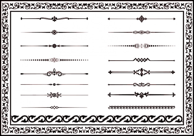 Set decorative line floral elements for black color