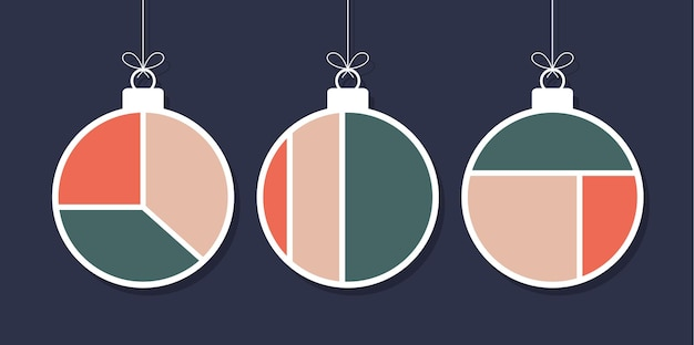 Set of decorative modern art christmas balls isolated on blue background. new year set of minimal 20s geometric design bauble, vector template with primitive shapes elements
