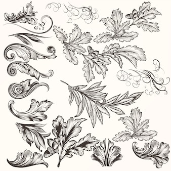 Set of decorative natural elements