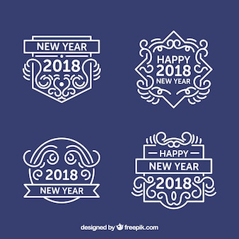 Set di etichette decorative di nuovo anno