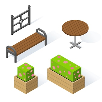 Set of decorative objects for the park