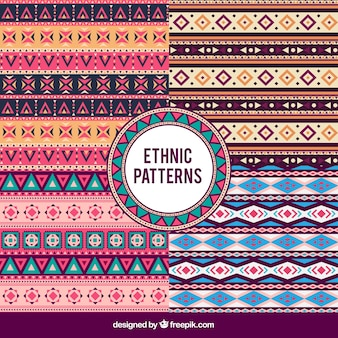 Set of decorative patterns in ethnic style