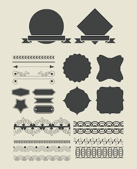 Set of decorative ribbon cartoon