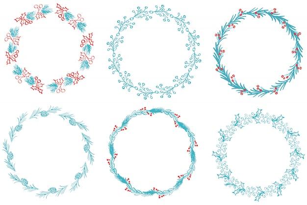 Set of decorative round frame art