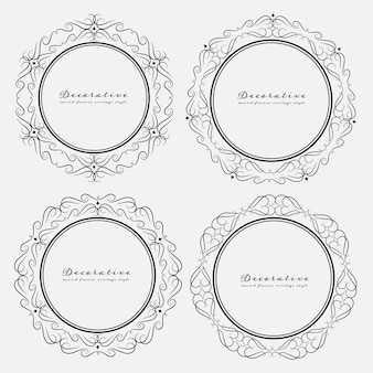 Set of decorative round frames vintage style.