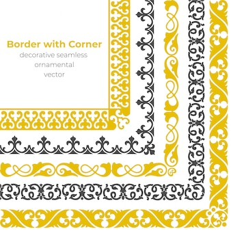 Set of decorative seamless ornamental border with corner