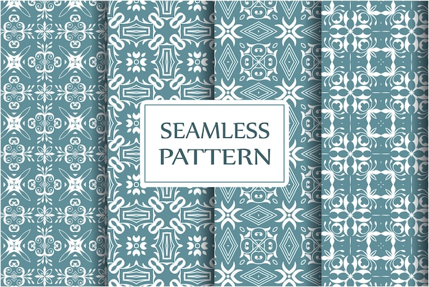 Set of decorative seamless pattern for wallpapers, textile, wrapping. exquisite floral baroque template