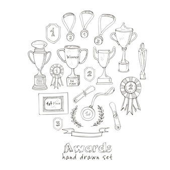 Set of decorative sketch award with trophy