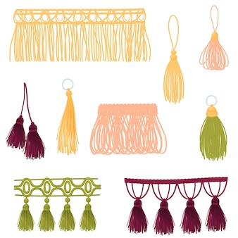 Set of decorative tassels of different colors and shapes.  illustration on white background.