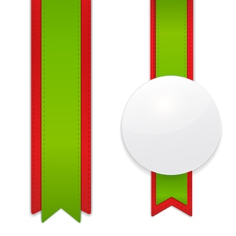 Set of decorative vertical ribbons with white circle tag for your design project.