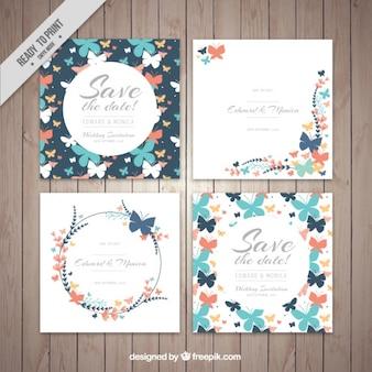 Set of decorative wedding cards butterflies