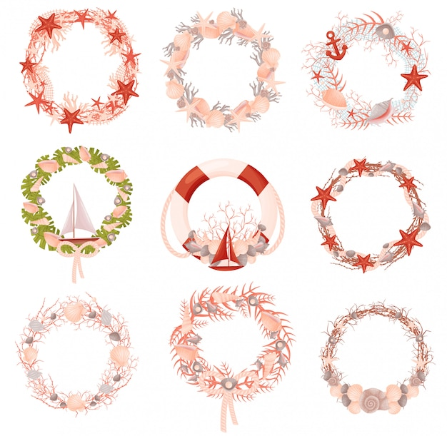 Set of decorative wreaths with a nautical theme.  .