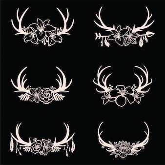 Set of deer antlers with floral cut files