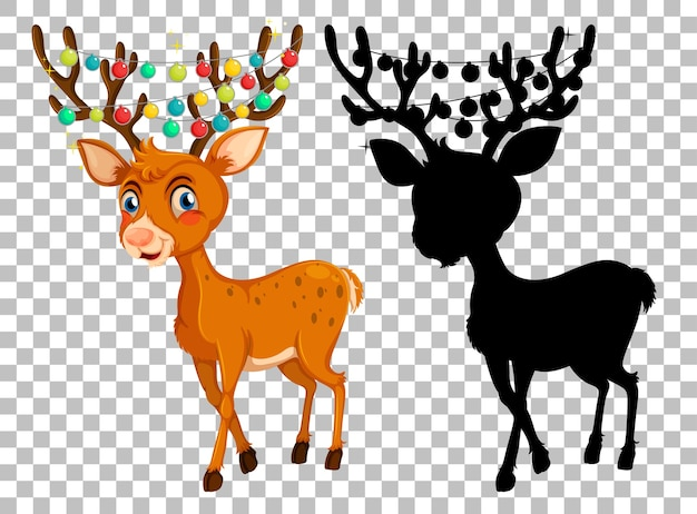 Set of deer cartoon and and its silhouette