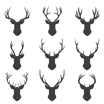 Set of deer silhouettes.