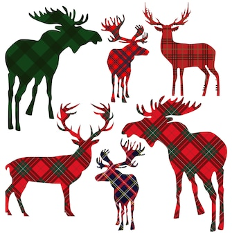 Set of deer on tartan background.