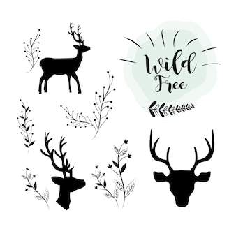 Set deer wild animal with branches icons