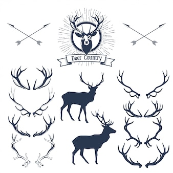 Set of deers  silhouette, deer head and antlers.  illustration