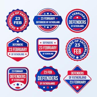 Set di etichetta del giorno del difensore della patria