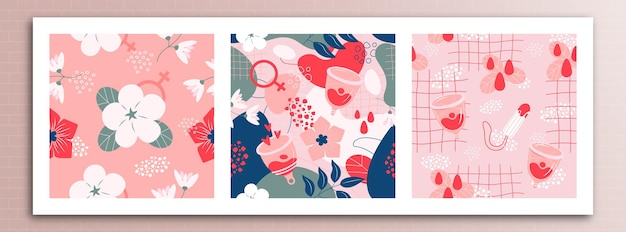 Set of delicate pattern on the theme of menstrual cycle in women. can be used for textiles, backgrounds, prints.