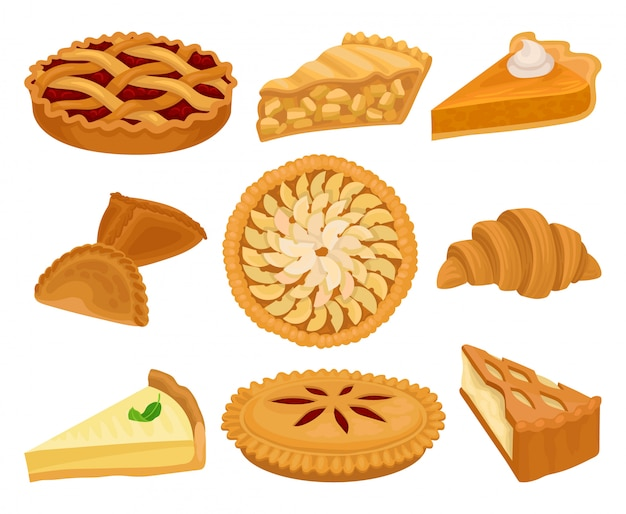 Set of delicious bakery products. pies with different fillings, fresh croissant and cheesecake. sweet food.
