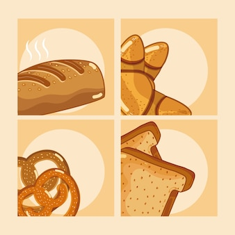 Set of delicious breads in colorful frames