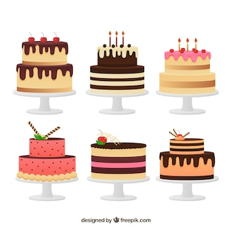 Set of delicious cake in flat style