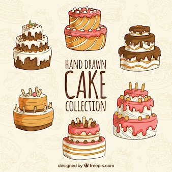 Set of delicious cake in hand drawn style