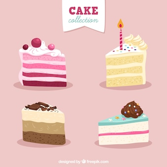 Set of delicious cakes in hand drawn style