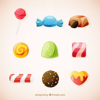 Set of delicious candies in flat style