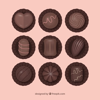 Set of delicious chocolate bonbons