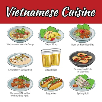 Set of delicious and cuisine of vietnam