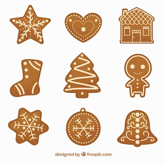 Set of delicious and decorative gingerbread cookies
