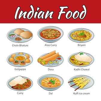 Set of delicious and famous food of indian