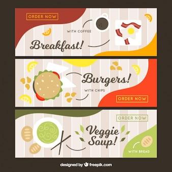 Set di deliziosi striscioni alimentari