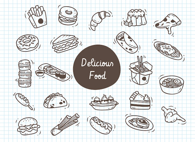 Set of delicious food doodle