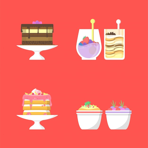 Set of delicious food and drink illustration