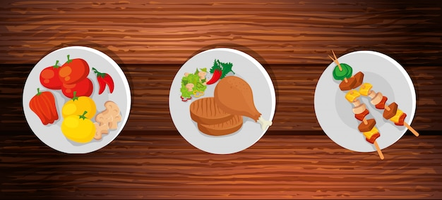 Set of delicious food in wooden background