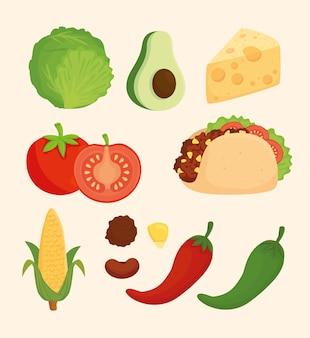 メキシコ料理を準備するためのセット、おいしい食材